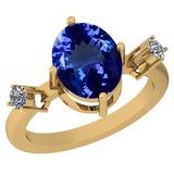 3.39 Ctw VS/SI1 Tanzanite And Diamond Platinum 14K Yellow Gold Plated Ring