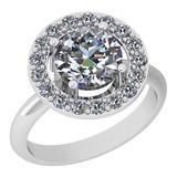 1.75 Ctw Diamond I2/I3 14K White Gold Vintage Style Halo Ring