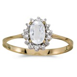 10k Yellow Gold Oval White Topaz And Diamond Ring 0.5 CTW