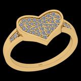 0.27 Ctw I2/I3 Diamond 10K Yellow Gold Entertiy Heart Shape Ring
