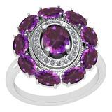 3.13 Ctw I2/I3 Amethyst And Diamond 10K White Gold Vintage Style Ring