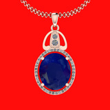 6.26 Ctw VS/SI1 Blue Sapphire And Diamond 14K Rose Gold Necklace
