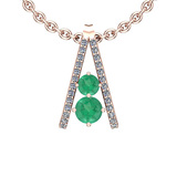 1.70 Ctw Emerald And Diamond I2/I3 14K Rose Gold Necklace