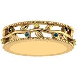 0.07 Ctw I2/I3 Multi Treated Fancy yellow,Blue,Black diamond 14K Yellow Gold Filigree Style Band Rin