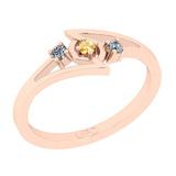 0.10 Ctw I2/I3 Citrine And Diamond 10K Rose Gold three Stone Ring
