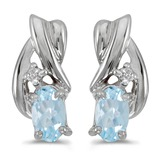 10k White Gold Oval Aquamarine And Diamond Earrings 0.3 CTW