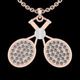 1.32 Ctw SI2/I1 Diamond 14K Rose&White Two tone Gold Tennis Set Pendant