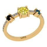 0.81 Ctw I2/I3 Treated Fancy Multi Diamond 14K Yellow Gold three Stone Ring
