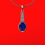 2.90 Ctw VS/SI1 Blue Sapphire And Diamond 14K White Gold Necklace