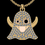 3.60 Ctw SI2/I1 Treated Fancy Black And White Diamond 14K Two Tone Gold Ghost Pendant