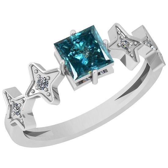 0.83 Ctw I1/I2 Treated Fancy Blue And White Diamond Platinum Ring