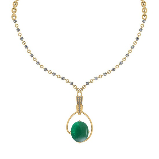 10.79 Ctw VS/SI1 Emerald And Diamond 14k Yellow Gold Victorian Style Necklace
