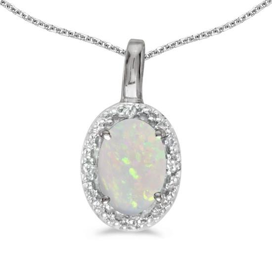 14k White Gold Oval Opal And Diamond Pendant