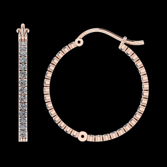 0.92 Ctw SI2/I1 Diamond 14K Rose Gold Hoop Earrings