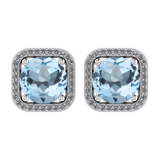 23.34 Ctw I2/I3 Blue Topaz And Diamond 14K White Gold Stud Earrings