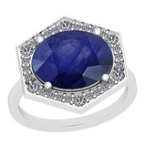 4.22 Ctw Blue Sapphire And Diamond I2/I3 14K White Gold Vintage Style Ring