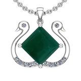17.52 Ctw VS/SI1 Emerald And Diamond Platinum Pendant