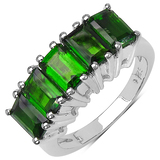 3.50 CTW Genuine Chrome Diopside .925 Sterling Silver Ring