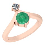 1.00 Ctw VS/SI1 Emerald And Diamond Platinum 14K Rose Gold Plated Ring