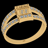 0.45 Ctw I2/I3 Diamond 10K Yellow Gold Casino theme Ring