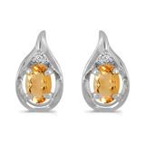 14k White Gold Oval Citrine And Diamond Earrings 0.64 CTW
