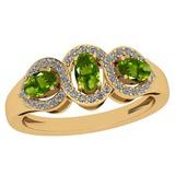 1.00 Ctw Peridot And Diamond I2/I3 14K Yellow Gold three Stone Ring