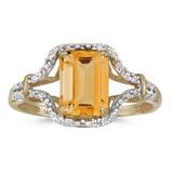 14k Yellow Gold Emerald-cut Citrine And Diamond Ring 1.36 CTW