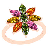 1.05 Ctw Multi Sapphire 14k Rose Gold Ring
