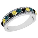 1.42 Ctw I2/I3 Treated Fancy Multi Diamond 10K White Gold Men's Style Wedding Band Ring