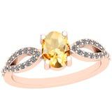 0.64 Ctw Citrine And Diamond I2/I310K Rose Gold Vintage Style Ring