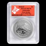 2018 Australia 1 oz Silver Lunar Dog MS-70 PCGS (FS, Red Label)