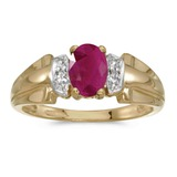 14k Yellow Gold Oval Ruby And Diamond Ring 0.74 CTW