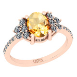 1.71 Ctw I2/I3 Citrine And Diamond 10K Rose Gold Promises Ring