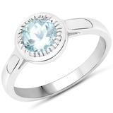 0.75 CTW Genuine Aquamarine .925 Sterling Silver Ring