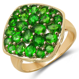 14K Yellow Gold Plated 2.96 CTW Genuine Chrome Diopside .925 Sterling Silver Ring