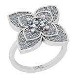 1.38 Ctw SI2/I1 Diamond 14K White Gold Vintage Style Ring