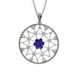 14k White Gold Sapphire and Diamond Spider Web Pendant