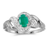 14k White Gold Oval Emerald And Diamond Swirl Ring