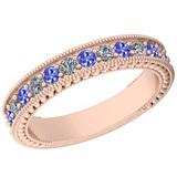 0.83 Ctw VS/SI1 Tanzanite And Diamond 14K Rose Gold Filigree Style Band Ring