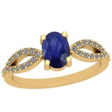 0.64 Ctw Blue Sapphire And Diamond I2/I3 14K Yellow Gold Vintage Style Ring