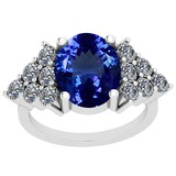 5.72 Ctw VS/SI1 Tanzanite And Diamond Platinum Vintage Style Ring