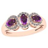 1.00 Ctw Amethyst And Diamond I2/I3 14K Rose Gold three Stone Ring