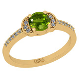 0.68 Ctw I2/I3 Peridot And Diamond 10K Yellow Gold Promises Ring