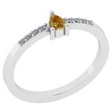 0.21 Ct Natural Yellow Diamond I2/I3And White Diamond I2/I3 18k White Gold Anniversary Ring