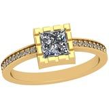 0.75 Ctw SI2/I1 Diamond Platinum 14K Yellow Gold Plated Ring