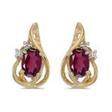 14k Yellow Gold Oval Rhodolite Garnet And Diamond Teardrop Earrings 1.02 CTW