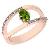 0.64 Ctw Peridot And Diamond I2/I3 10K Rose Gold Vintage Style Ring