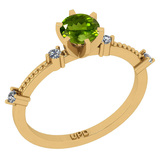 0.64 Ctw I2/I3 Peridot And Diamond 10K Yellow Gold Promises Ring