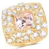 14K Yellow Gold Plated 3.33 CTW Synthartic Morganite and White Topaz .925 Sterling Silver Ring