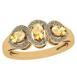 1.00 Ctw Citrine And Diamond I2/I3 14K Yellow Gold three Stone Ring